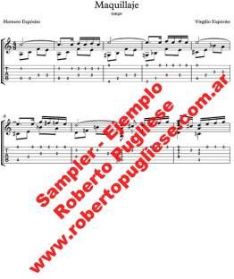 Maquillaje ejemplo de la partitura de guitarra, arreglo de Roberto Pugliese. tablatura