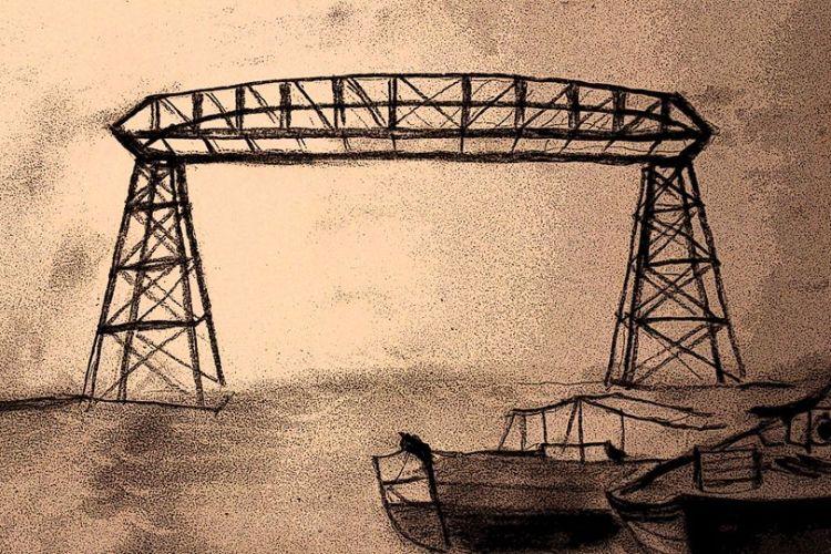 Puente de la boca - Carbonilla de Roberto Pugliese para su video del tango Silbando