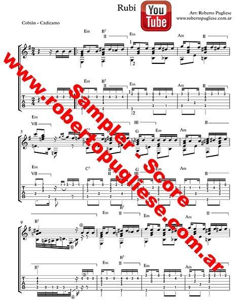 Rubi 🎼 partitura del tango en guitarra. Con video