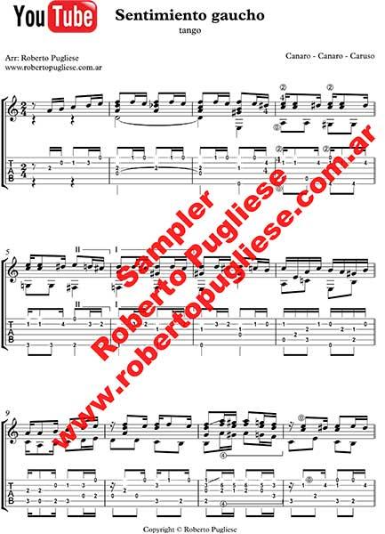 Sentimiento gaucho 🎼 partitura del tango en guitarra. Con video