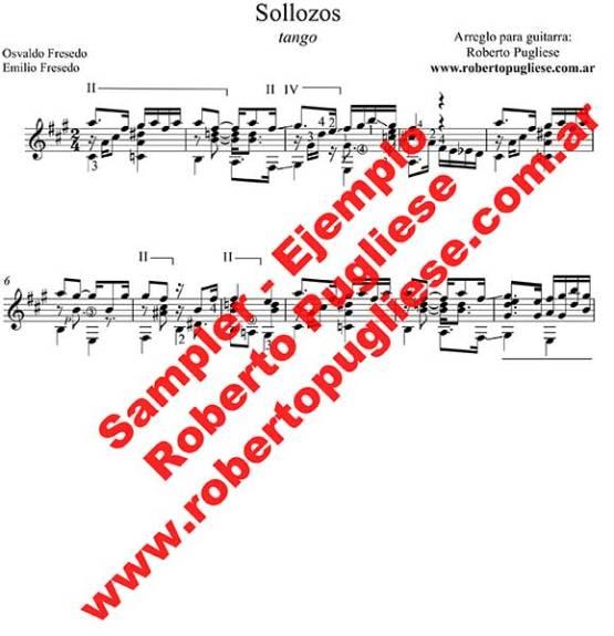 Sollozos 🎼 partitura del tango en guitarra. Con video y mp3 gratis