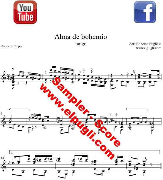 Alma de bohemio 🎼 tango partitura de guitarra. Con video