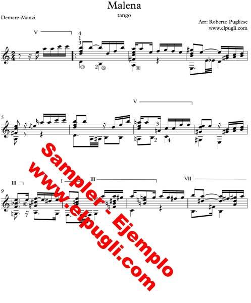 Malena 🎼 partitura del tango en guitarra. Con video y mp3 gratis