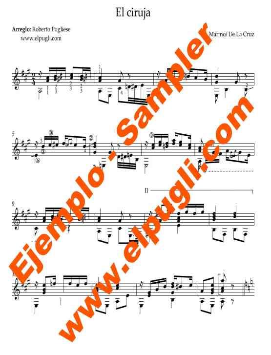 El ciruja 🎼 Score for classical guitar. Mp3 free