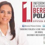 Rendirá cuentas la diputada Berenice Polanco Córdova