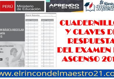 CUADERNILLOS Y CLAVE DE RESPUESTAS DE LA EVALUACIÓN DE ASCENSO 2019.
