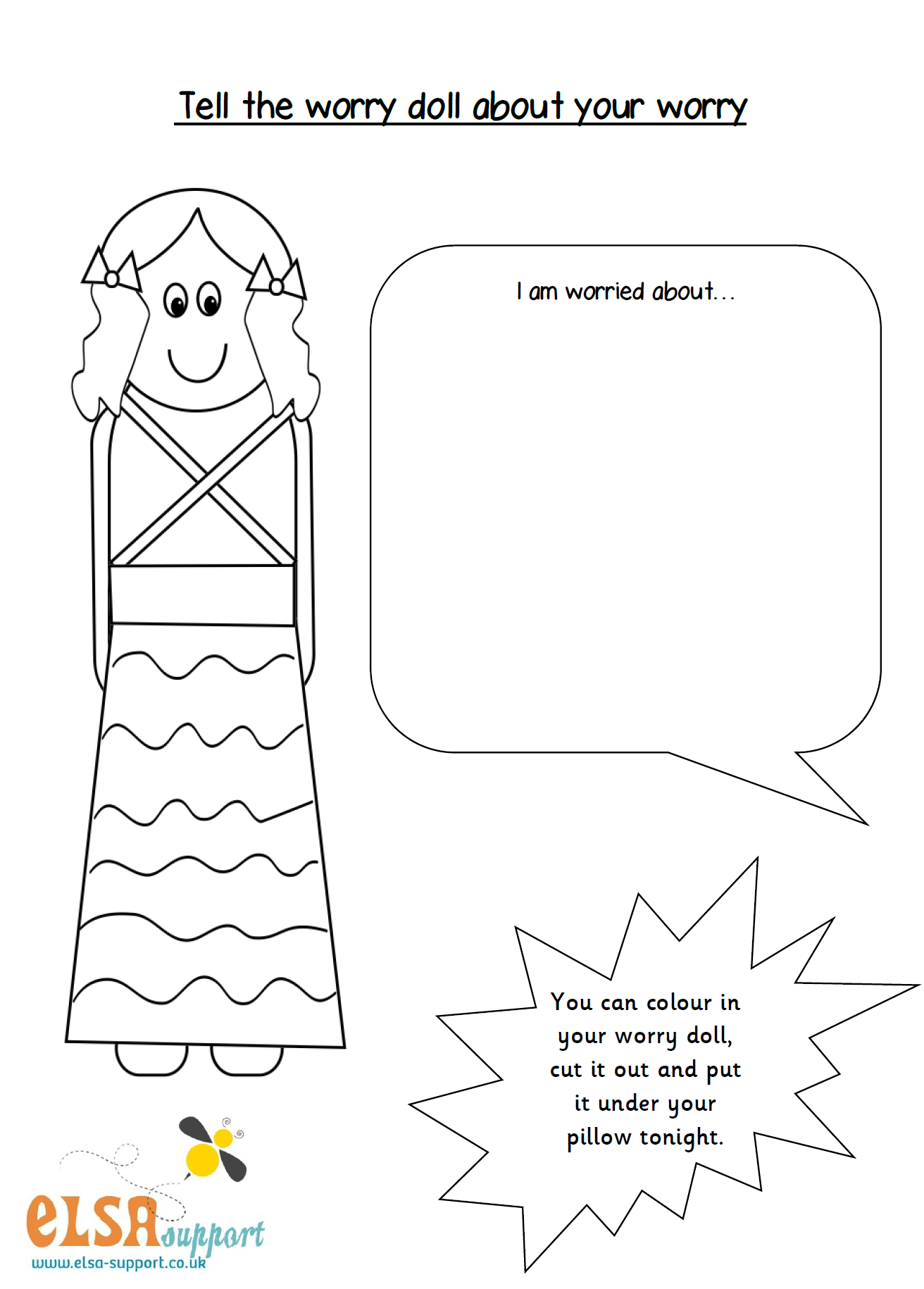 Worry Doll Worksheet
