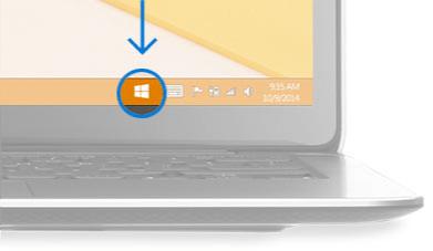 Una imagen del escritorio con un círculo rodeando el icono de Windows en la esquina inferior derecha.