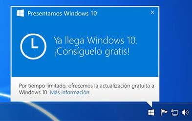 Esquina inferior derecho del escritorio de un equipo con icono de notificación de la llegada de Windows.