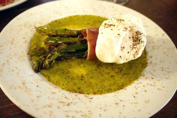 Asparagus, serrano and soft poached egg
