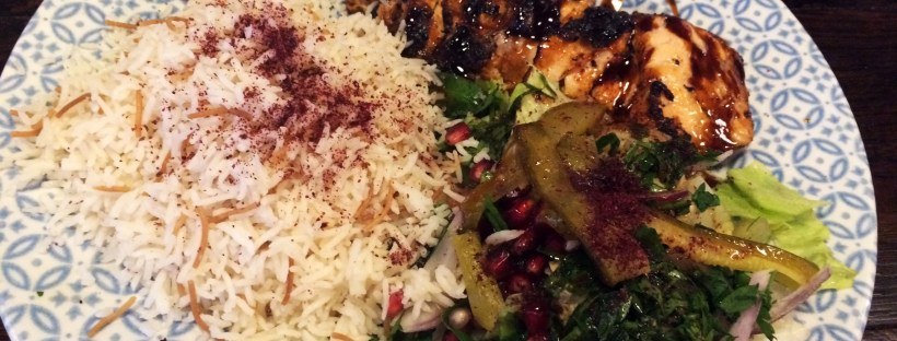Samek Meshawi: Charcoal salmon fillet marinated in pomegranate mollase