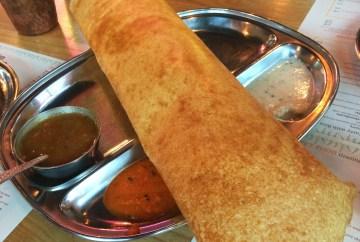 Masala Dosa: Thin rice and lentil crepe with potato masala filling