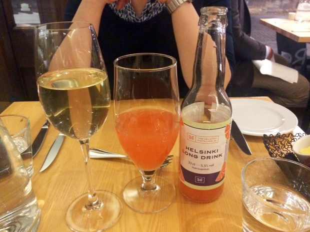 Mesila Hunajasima (non-alcoholic honey mead) and Helsinki Long Drink