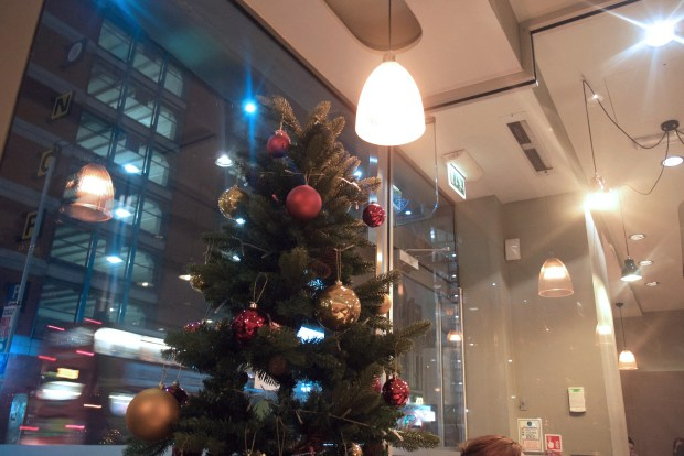 Pizza Express on Oxford Street, Christmas tree