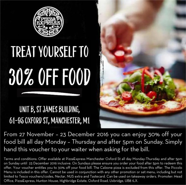 Pizza Express voucher Dec 2016