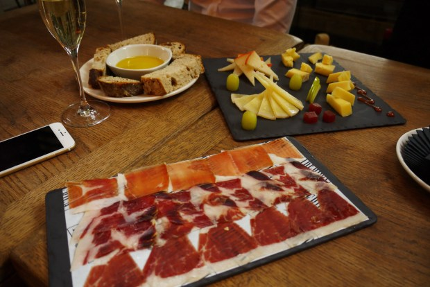 Bread with olive oil, cheese selection board with fruit and trio de Jamones (trio of hams), served with Cava Vilarnau