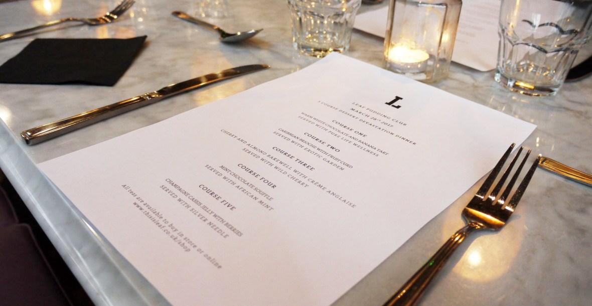 Leaf pudding club menu