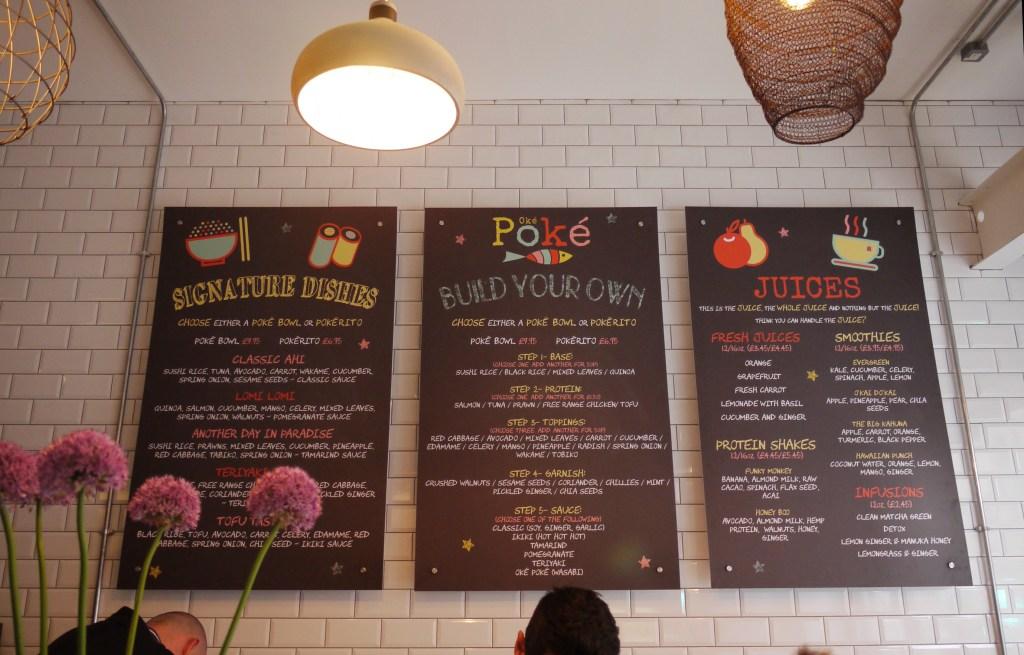 Oké Poké menu