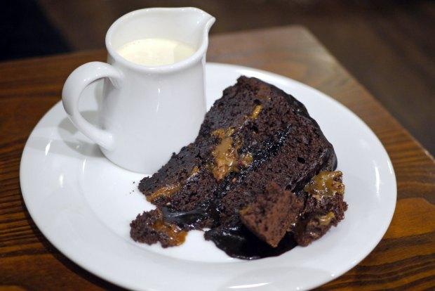 Salted caramel chocolate fudge cake (v) (£4.75)