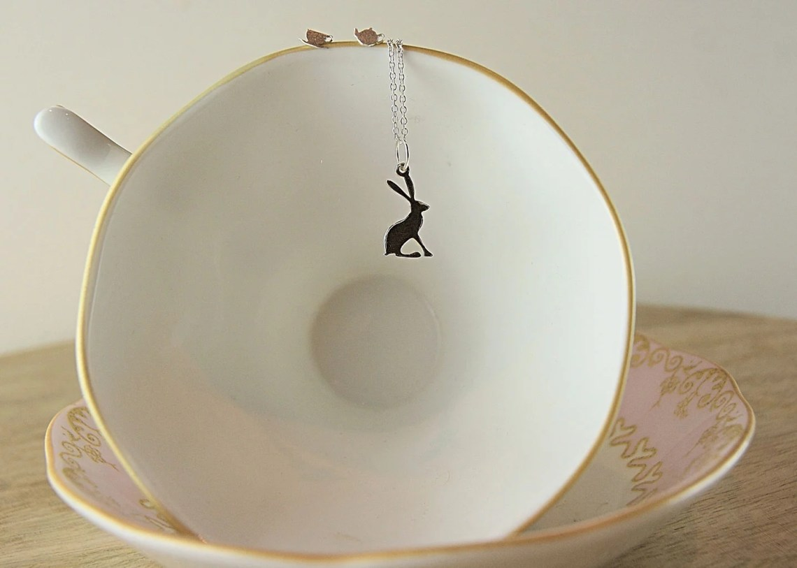 Silver rabbit necklace and silver tea set earrings