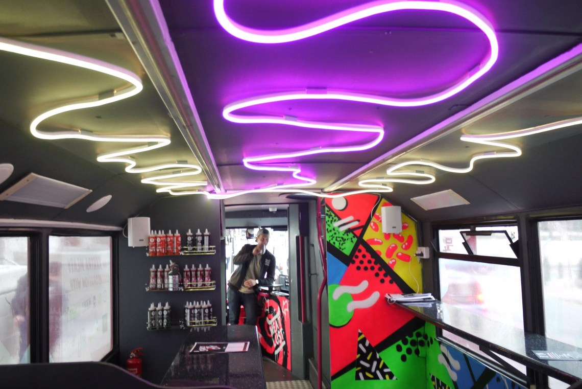 Inside the tour bus