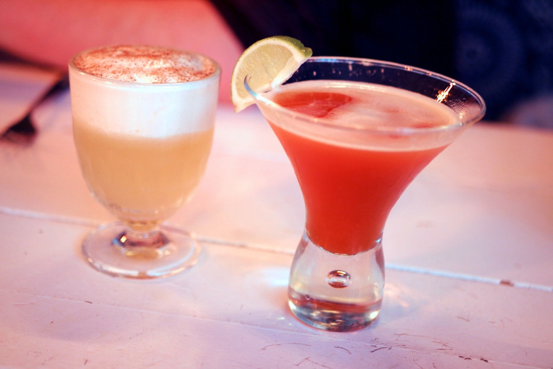 (L) Rattlesnake - El Jimador Blanco, lime juice, chilli gomme, egg white and coconut and grapefruit foam £9 (R) Tropical Punch - Goslings Black Seal, Passoa, pink guava purée, mango juice, lime and gomme £9