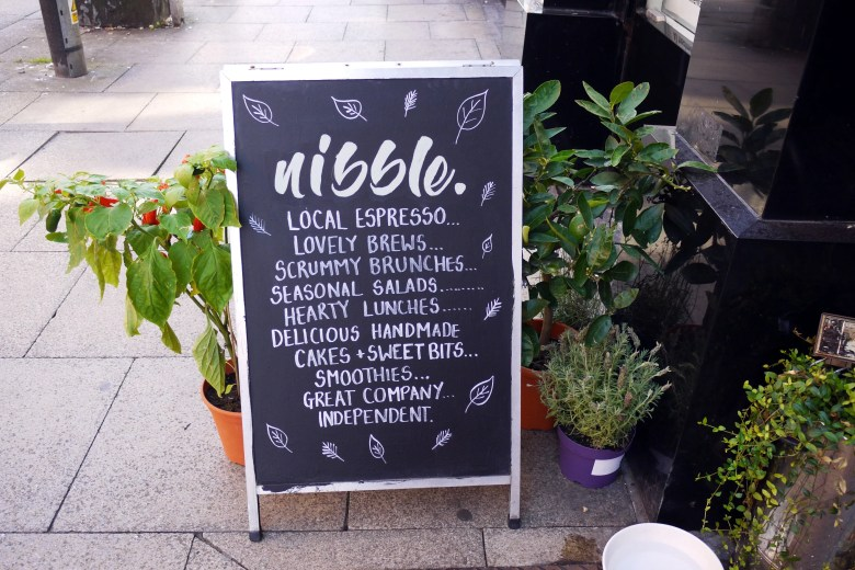 Nibble NQ chalkboard sign