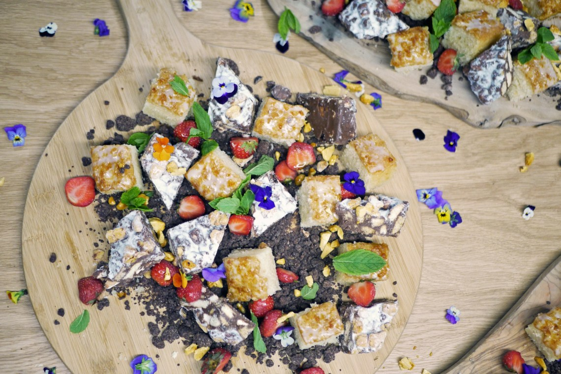 Honeycomb rocky road and honey and bergamot cakes with chocolate soil