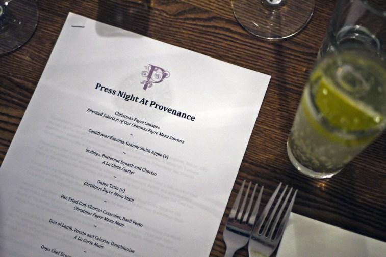 Press Night menu
