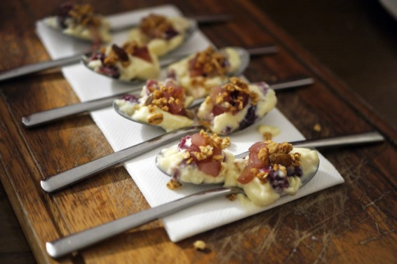 Bite-sized version of the pear and cranberry pannacotta with granola
