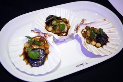 Seared sea scallops served with Bury black pudding, celeriac puree, apple and Jerez vinegar £13.50