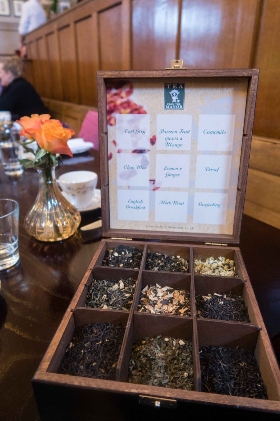 The tea box with samples of each tea offered
