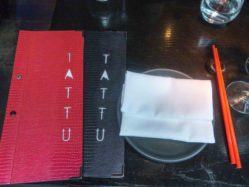 Tattu menus with individual plate