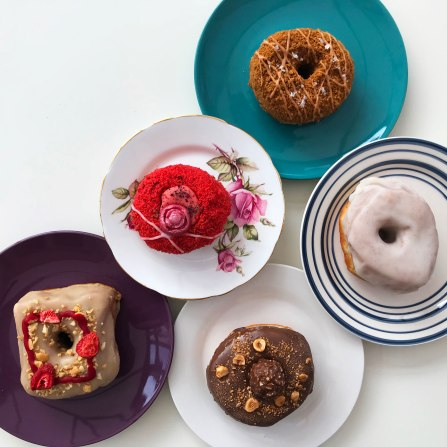 A selection of Yes! Doughnuts on plates