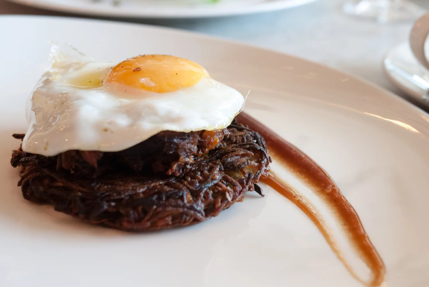 Breakfast rosti with ragu and fried egg (£7.95)