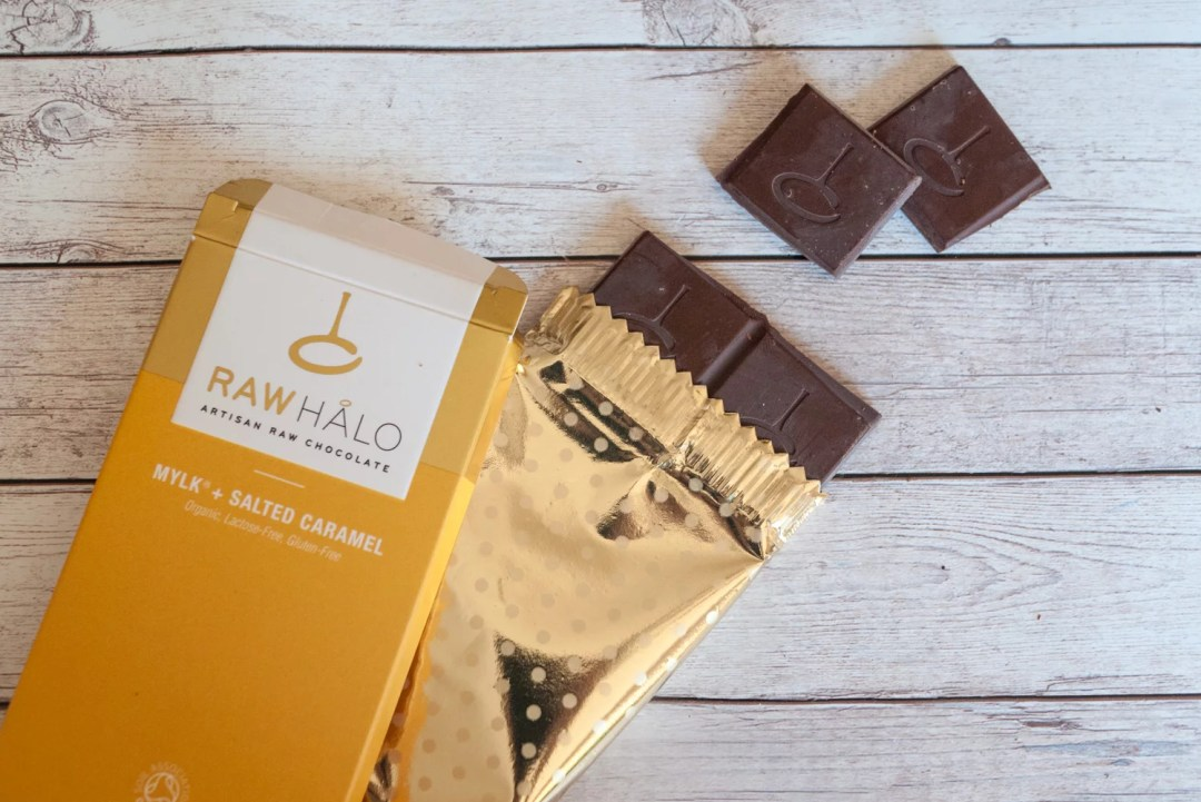 Mylk and Salted Caramel Raw Halo chocolate bar