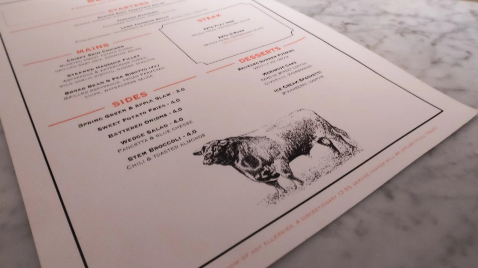 Alston Bar and Beef menu