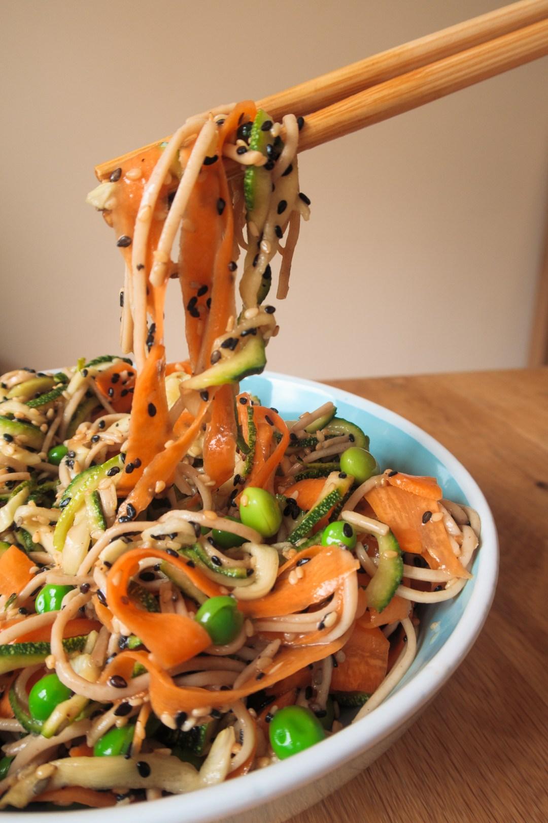 Soba salad recipe raised by chopsticks