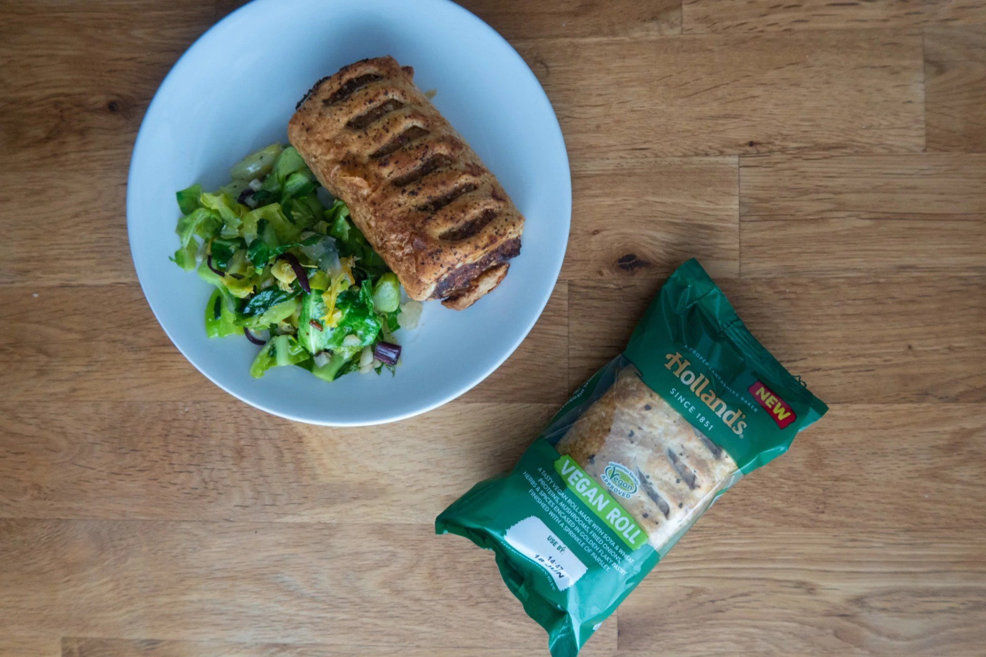 Holland's Vegan Pie on plate and in packaging