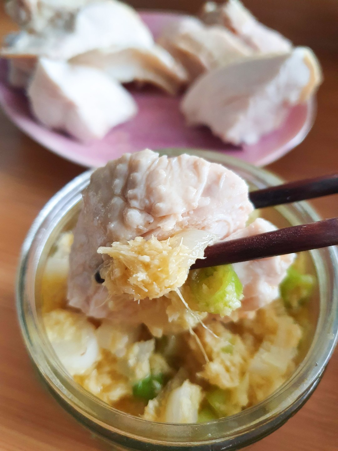 Cantonese style poached chicken with ginger and spring onion oil