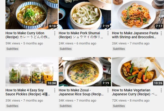Screenshot of Just One Cookbook Youtube