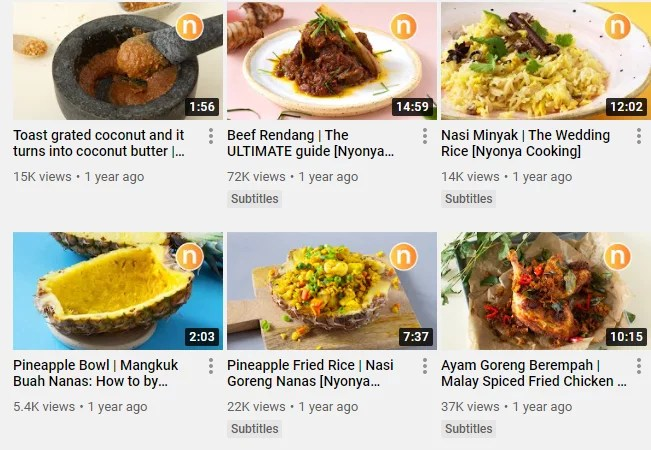Screenshot of Nyonya Cooking Youtube