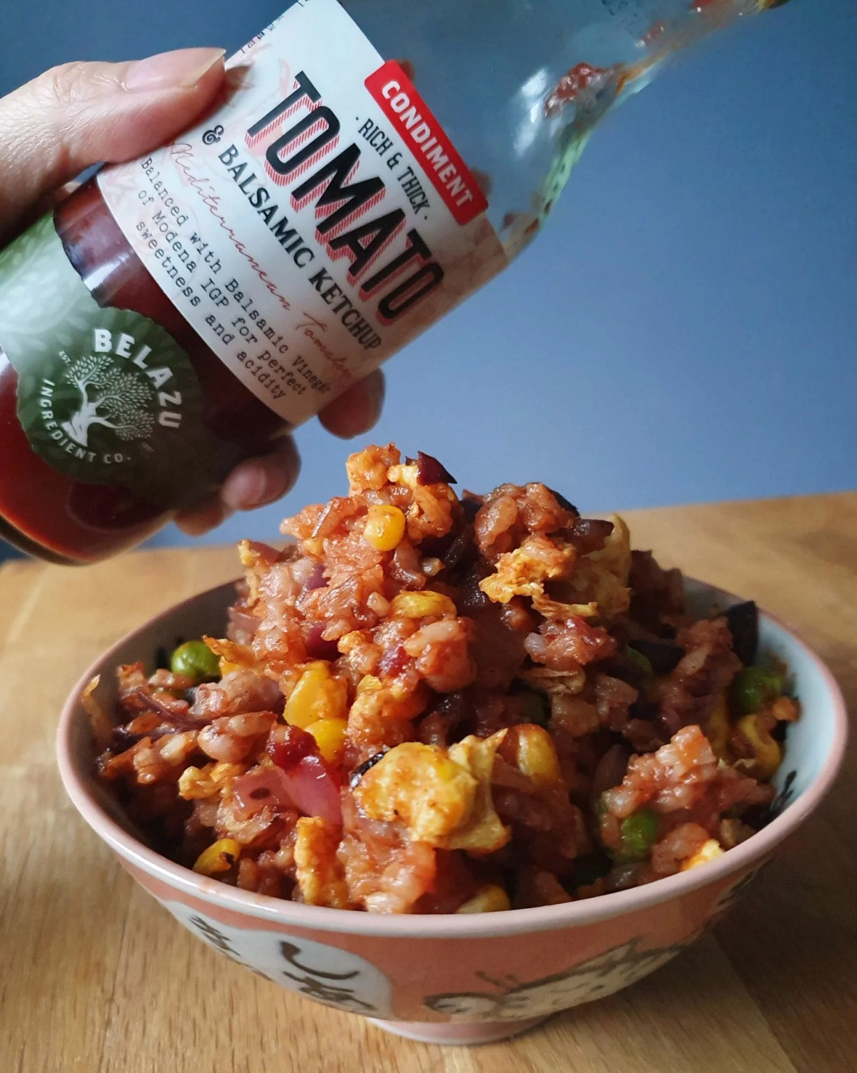 Belazhu tomato and balsamic vinegar ketchup with fried rice
