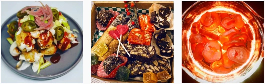 Loaded yam chips, a box of vegan sweet treats including brownies and some pickled radish