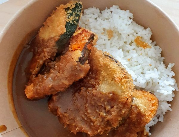 Vegetable katsu with japanese curry and rice, from Osaka Local