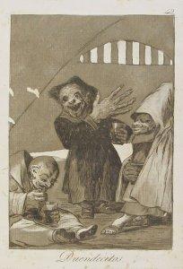 """Duende Martinico en el grabado """"Duendecillos"""" de los Caprichos de Francisco de Goya."""