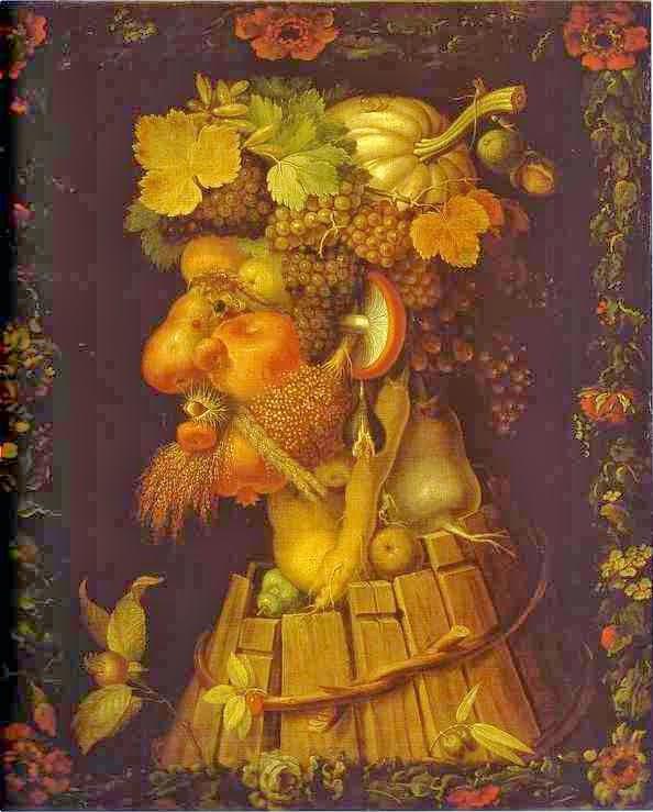 Representación del Otoño (1573) del pintor italiano Giuseppe Arcimboldo (1527-1593). Se hizo célebre por sus retratos de flores, frutas, plantas, animales u objetos imitando a las personas retratadas. Sus obras fueron un anticipo del surrealismo.