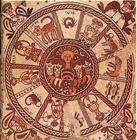 Arte judío. Marianos y Janina, Mosaico bizantino de la Sinagoga Beit Alfa, siglo VI. La composición incorpora los doce motivos zodíacos por ser coincidentes con los doce meses del calendario hebreo.1 La presencia del motivo central del sol tiene aquí una justificación de orden astronómico (y no religioso).2 Las cuatro figuras de las esquinas representan los cuatro hitos del año,3 solsticios y equinoccios, nombrados en hebreo según el mes en que cada uno de ellos ocurre: Tishrei, [Tevet], Ni[san] y Tamuz. Kibutz Beit Alfa, Israel.
