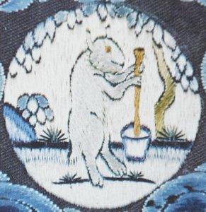 El conejo de jade vivía en la Luna conla diosa Heng-ugo preparando el elixir de la vida
