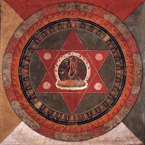 800px-Painted_19th_century_Tibetan_mandala_of_the_Naropa_tradition,_Vajrayogini_stands_in_the_center_of_two_crossed_red_triangles,_Rubin_Museum_of_Art
